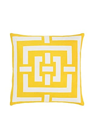 Surya Charming Criss Cross Pillow, Gold/Ivory