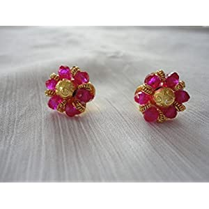 Mona Jewels Crystal Stud Earrings in Pink and Gold