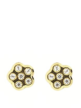 Gold & Diamond Pendientes Flor Circonita