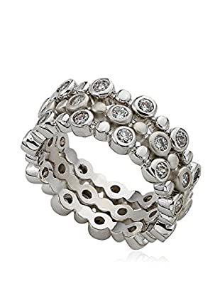 Riccova Retro Cubic Zirconia Rhodium 3 Stack Eternity Rings