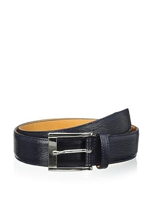 Leone Braconi Men's Minipaglia Embossed Calfskin Belt (Navy)