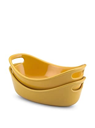 Rachael Ray Bubble and Brown Set of 2 Stoneware 12-Oz. Au Gratin Dishes (Yellow)
