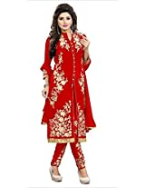 Clickedia Women's Faux Georgette Red Striaght Cut Churidaar Suit- Dress Material