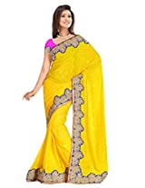 Sehgall Saree Indian Bollywood Designer Ethnic Professional Jacquard Crepe with Fancy Velvet Embriodery Border Yellow Saree