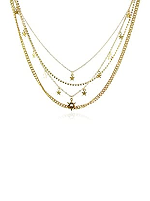 Ettika 18K Gold-Plated Layered In Luxury Crystal Necklace with Star Charms