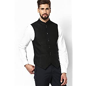 Solid Black Linen Waist Coat