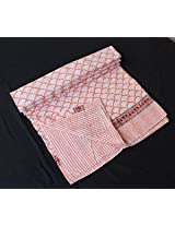Worldoftextile Cotton Kantha Reversible Quilt★Queen/king Size★made with Organic Cotton, Soft and Lightweight; Breathable and Absorbent; Durable and Eco Friendly★Bedspread or Throw Blanket
