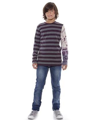 Custo Camiseta Roundy beep (morado / gris)