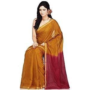 Golden Orange and Maroon Double Dye Kota Art Silk Saree with Blouse
