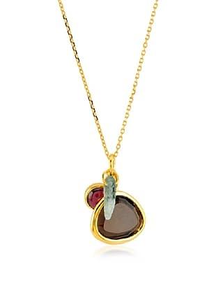 Melin Paris Collar Natural Jade, Rodolite Granate, Cuarzo Ahumado