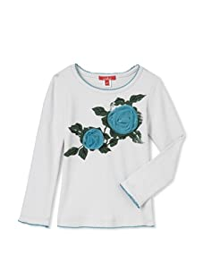 One Kid Girl's Fleur Top with Tulle Rosette (Oat/Jade)