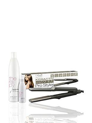 PostQuam Set Glatteisen + Keractiv Titanium Shampoo + Sensitive Hair 500 ml