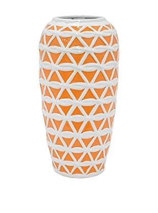 Three Hands Wide Top Trellis Ceramic Vase, Orange/White