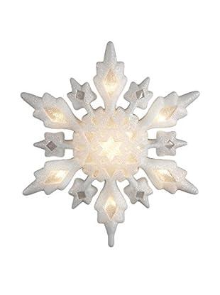 Kurt Adler 10-Light White Iridescent Snowflake Topper