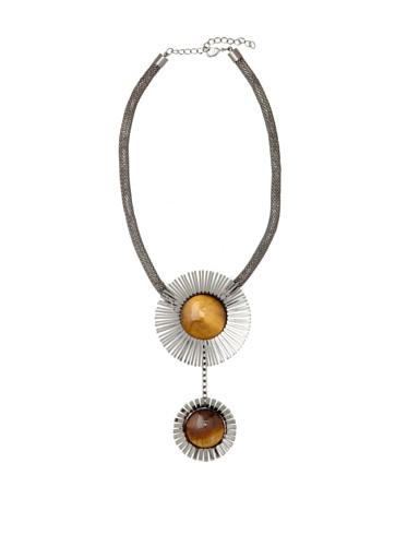 Tuleste Market Double Starburst Necklace, Gunmetal/Tiger Eye