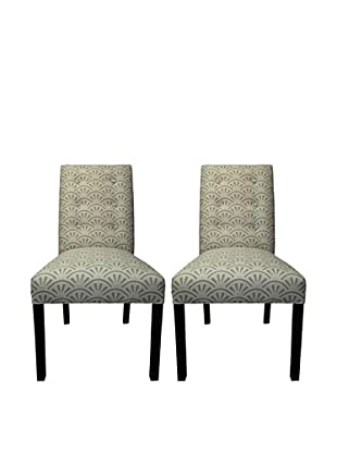 Sole Designs Kacey 6 Button Tufted Pair of Dining Chairs, Bonjour Platinum
