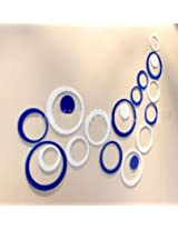 WOW Acrylic 3D Circle Blue & White Home and Office Decor Wall Sticker