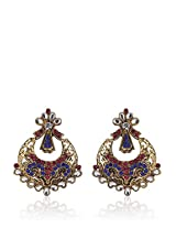 Alloy Earring With Multi Colour Stone