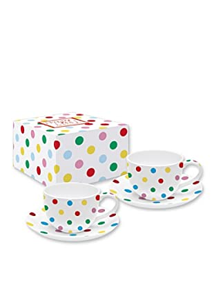 Easy Life Design Set 2 Tazzine Espresso con Piattini in Porcellana Happy Pois (Multicolore)