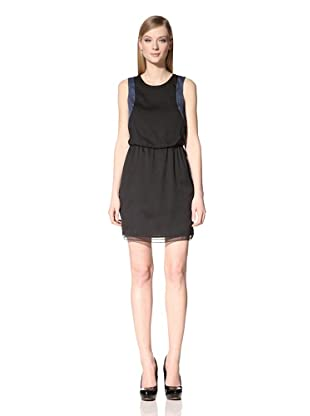 Marc New York Women's Colorblock Blouson Dress (Black/Cornflower)