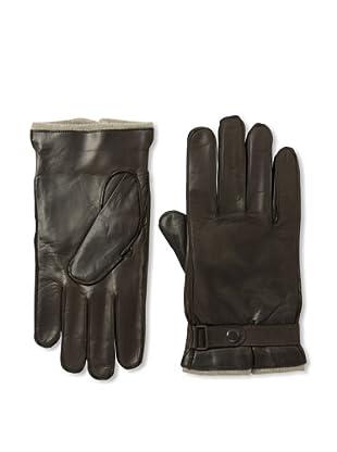 Portolano Men's Strap Nappa Leather Gloves (Chocolate Brown)