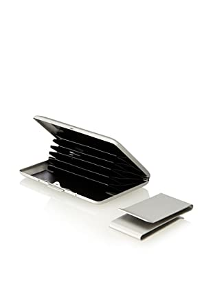 Wilouby Double-Sided Money Clip/Business Card Case Gift Set, Matte Silver