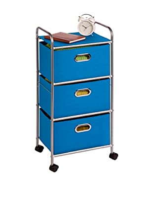 Honey-Can-Do 3 Drawer Rolling Cart, Blue