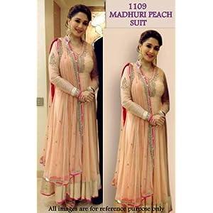 Madhuri Dixit Blooywood Replica Peach Georgette & Net Anarkali Suit