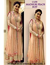 Madhuri Dixit Blooywood Replica Peach Georgette & Net Anarkali Suit