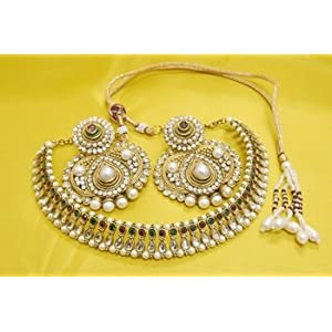 Necklace sets - JevantaBai's Traditional Maroon & Green Kundan Necklace with Ruby & Pearl Earrings