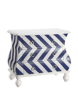 Luxury Home Artisan Chevron Bombe Chest, Blue