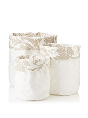 Chateau Blanc Set of 3 Sophie Fabric Storage Bags, White/Neutral