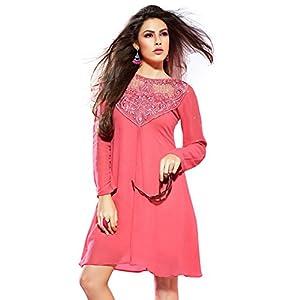 Fabdeal Embroidered Kurti Light Pink WPKRK63TPDT