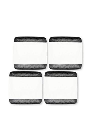 Noritake Everyday Elegance Set of 4 Zinc2 Small Square Plates (White/Black)