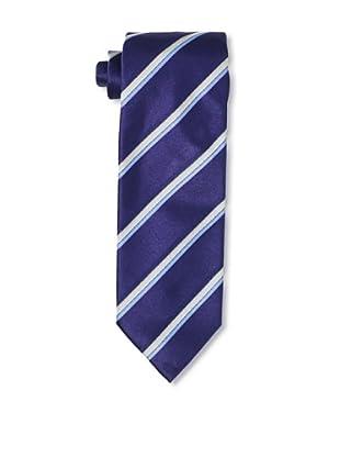 Massimo Bizzocchi Men's Tri-Stripe Tie, Blue/White