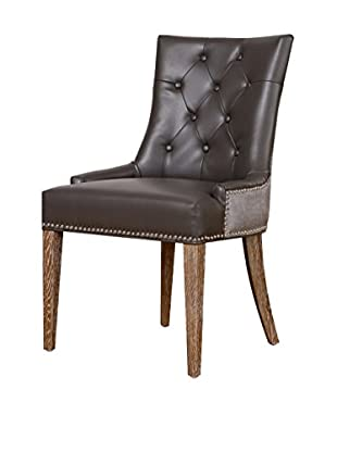TOV Furniture Uptown Leather/Velvet Dining Chair, Grey