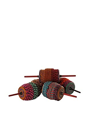 Vintage Kite String Holders with Rag Line, Multi