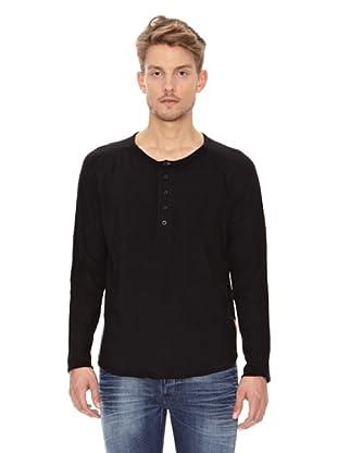 Nudie Jeans Camiseta ML Cuello Panadero (Negro)