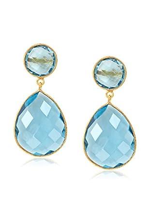 Saachi Blue Topaz Double Drop Earrings