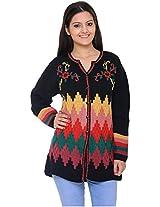 Wool Park Women's Woolen Cardigan (Black, XL)