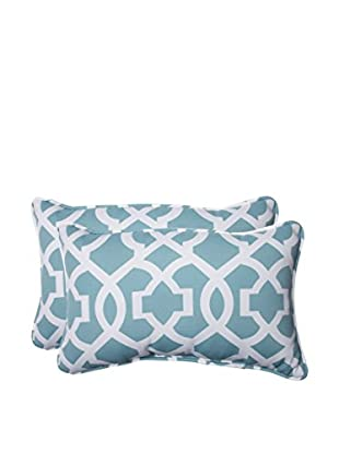Pillow Perfect Set of 2 Indoor/Outdoor New Geo Aqua Lumbar Pillows, Green