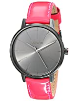 Nixon Women's A1081394 Kensington Black Stainless Steel Watch with Bright Pink Leather Band