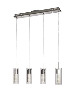 Bel Air Lighting Etched LED Cube 4-Pendant Track, Polished Chrome