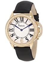 Freelook Women's HA9048G-4 Black Satin Band Silver Half Dial Gold Case Swarovski Bezel Watch