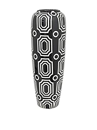Three Hands Tall Oval Geometric Ceramic Vase, Black/White