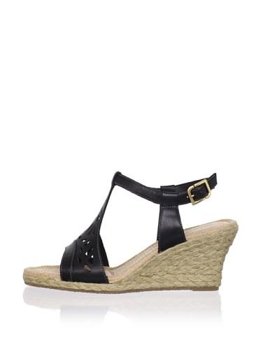 Rockport Women's Emily Laser Cut T-Strap Sandal (Black)