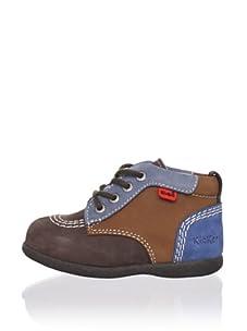 Kickers Kid's Colorblock Ankle Boot (Dark Brown)