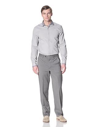Corbin Men's Wool Stretch Flat-Front Trousers (Medium Grey)