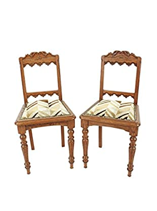 Pair of Spanish Side Chairs, Tan/Cream/Brown