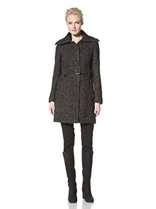 Calvin Klein Women's Single-Breasted Wool Coat (Black/Taupe)